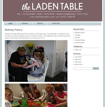 The Laden Table holding page & blog