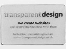 Transparent Design business cards